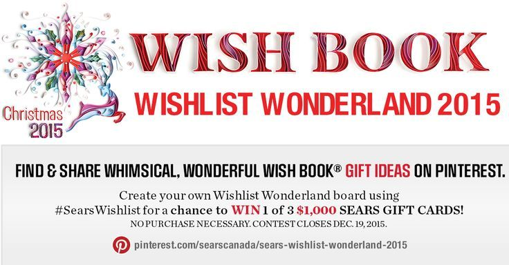 Create your own Wishlist Wonderland board using #SearsWishlist for a chance to win 1 of 3 $1,000 Sears Gift Cards!: