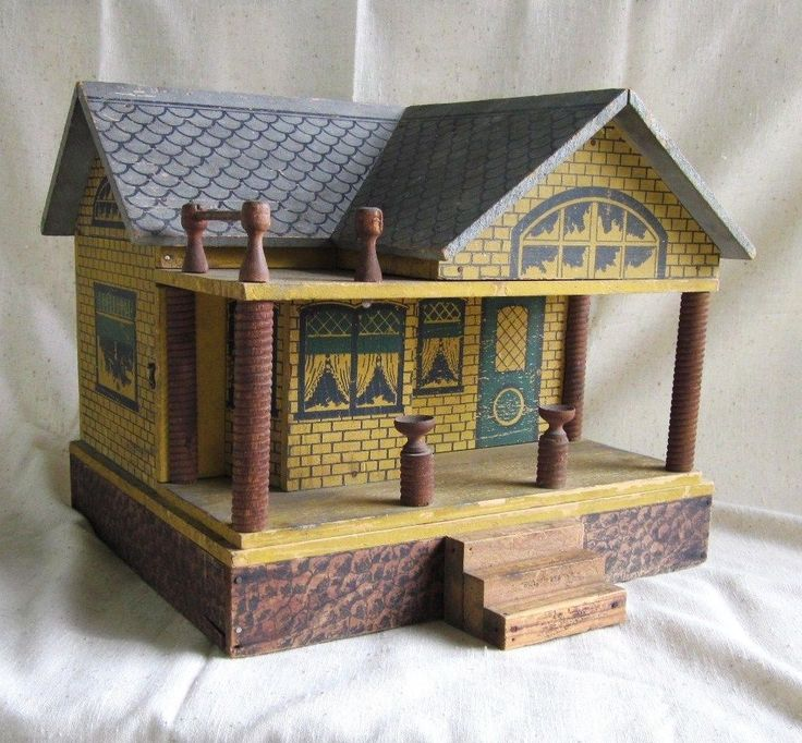 Converse Antique Doll House Vintage Stenciled Wood Cottage