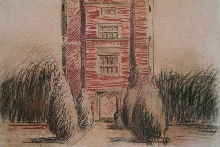 Sissinghurst Tower, series 3, pastel, wash, ink on watercolour paper, A2
