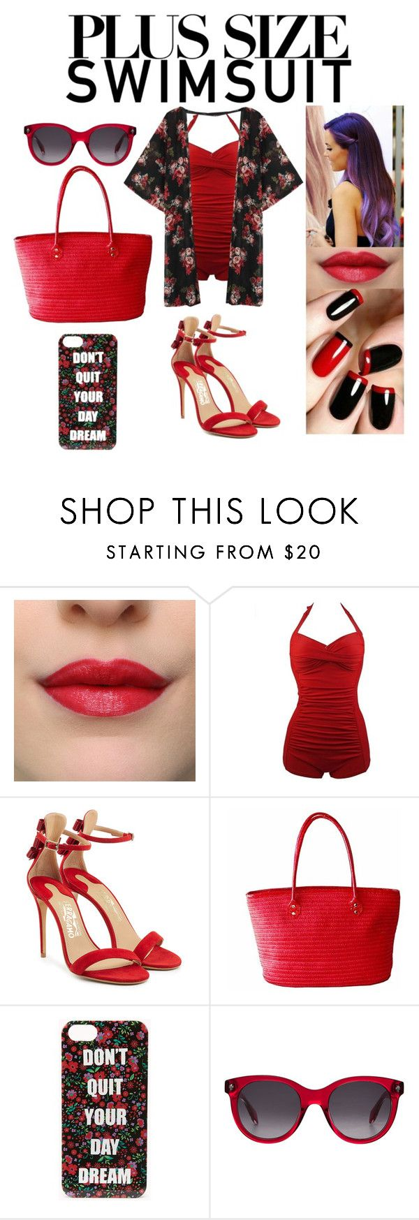 """Stylish Curves Swimsuit"" by xcoordinatingfashionx ❤ liked on Polyvore featuring Salvatore Ferragamo, Forever 21, Alexander McQueen, stylishcurves and plussizeswimsuit"