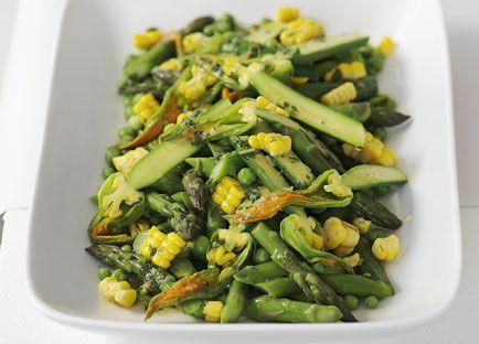 Australian Gourmet Traveller fast vegetarian recipe for summer vegetable salad with mint and lemon dressing