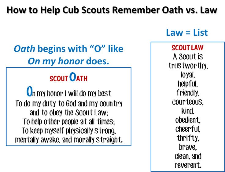 Declarative image in cub scout oath and law printable