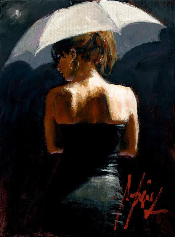 """Woman with White Umbrella III"" by Fabian Perez"
