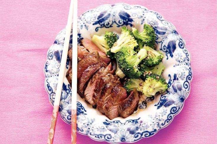 Kijk wat een lekker recept ik heb gevonden op Allerhande! Rundvlees teriyaki met sesam-broccoli