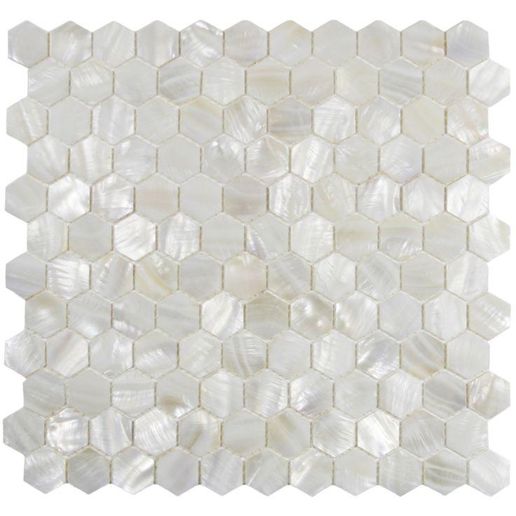 Show white hexagon pearl shell tile