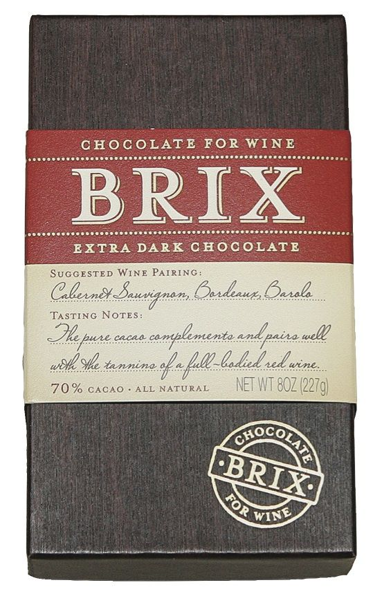 Brix Bar – Extra Dark 8 oz  SUGGESTED WINE PARINGS: Cabernet Sauvignon, Bordeaux, Barolo  Serving: Holding the Brix bar in place, insert the tip of a sharp utility knife to fracture Brix into bite sized morsels.