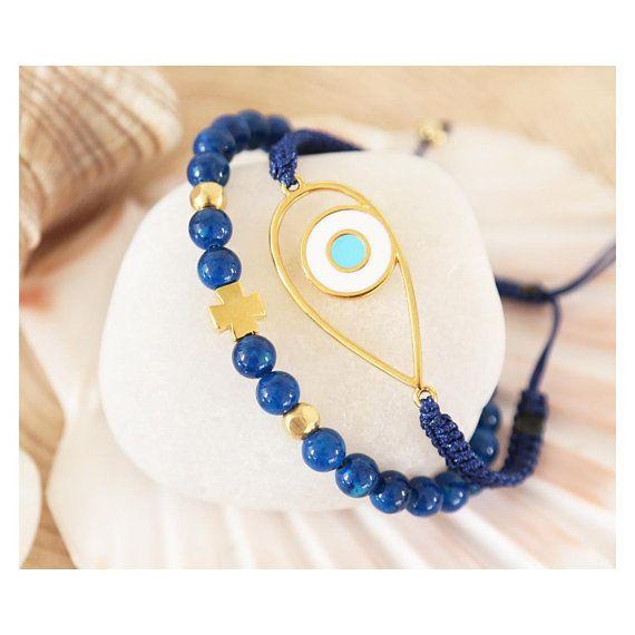 greek jewelry, evil eye jewelry, evil eye bracelet, chaolite gemstone, semi precious stone jewelry, gemstone bracelet, gold cross bracelet