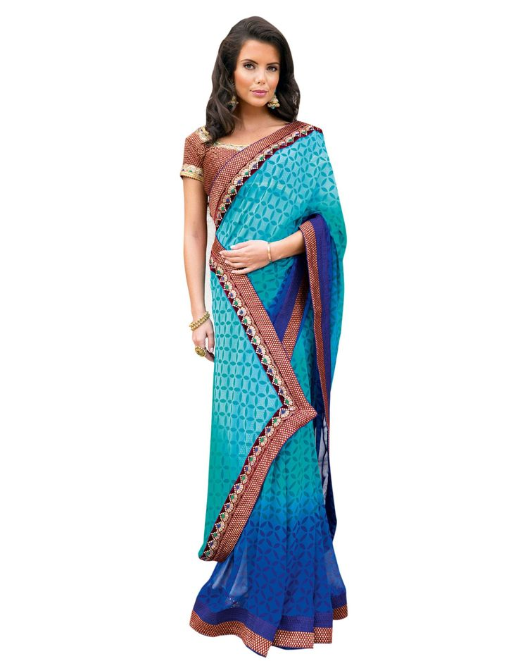 Amazing Blue resham work Satin embroidered saree.This attire is beautifully adorned with heavy Zari with Resham Embroidery and Lace Border worked Saree.