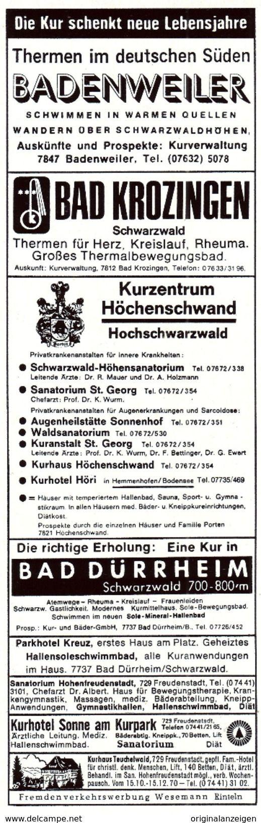 Werbung - Original-Werbung/ Anzeige 1970 - BADENWEILER / BAD KROZINGEN / HÖCHENSCHWAND / BAD DÜRRHEIM - ca. 65 x 220 mm