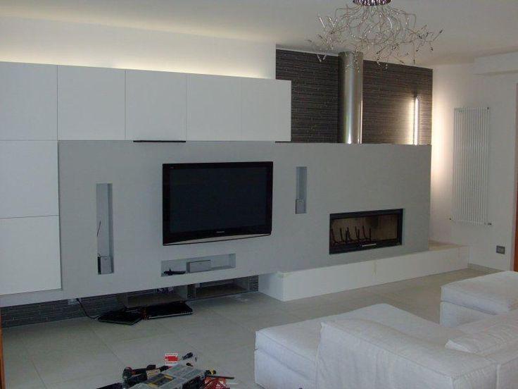 Parete con camino e tv cerca con google soggiorno living room wall e tv wall panel - Parete con camino ...