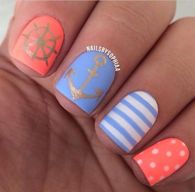 Neon Nautical blue & coral nail art