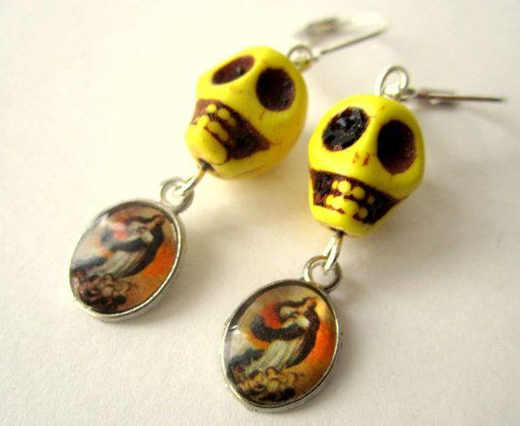 Day of the dead earrings Skull and Virgin by BohemianHooksJewelry, $10.00