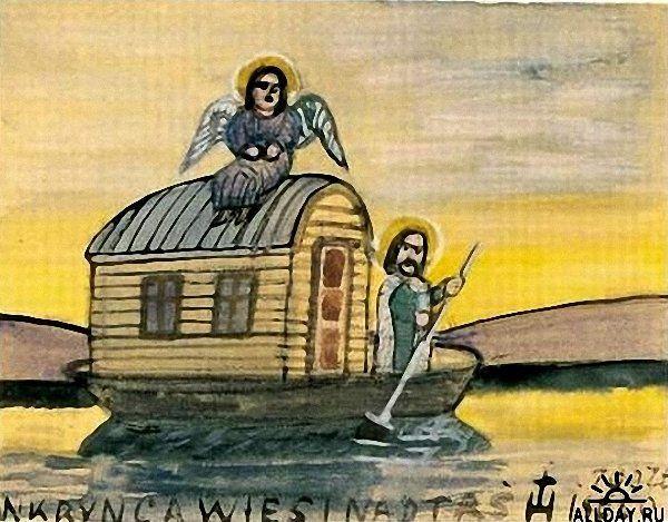 Krynicki Nikifor (Poland, 1895 - 1968) «Noahs Ark» 1935