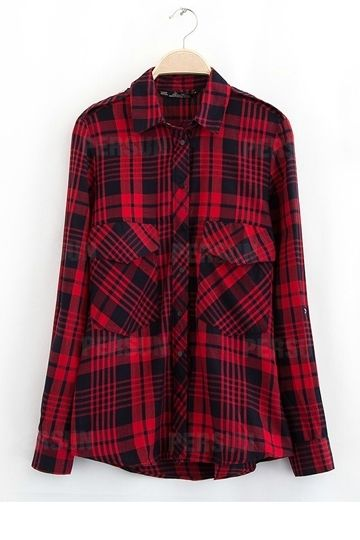 #persunmall Classical Red Plaid Cotton Shirt [FDBI00417]- US$ 23.99 - PersunMall.com