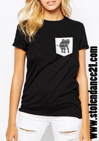 Elephant Tattoo Real Pocket Tee Crew Neck Top T shirt code50814