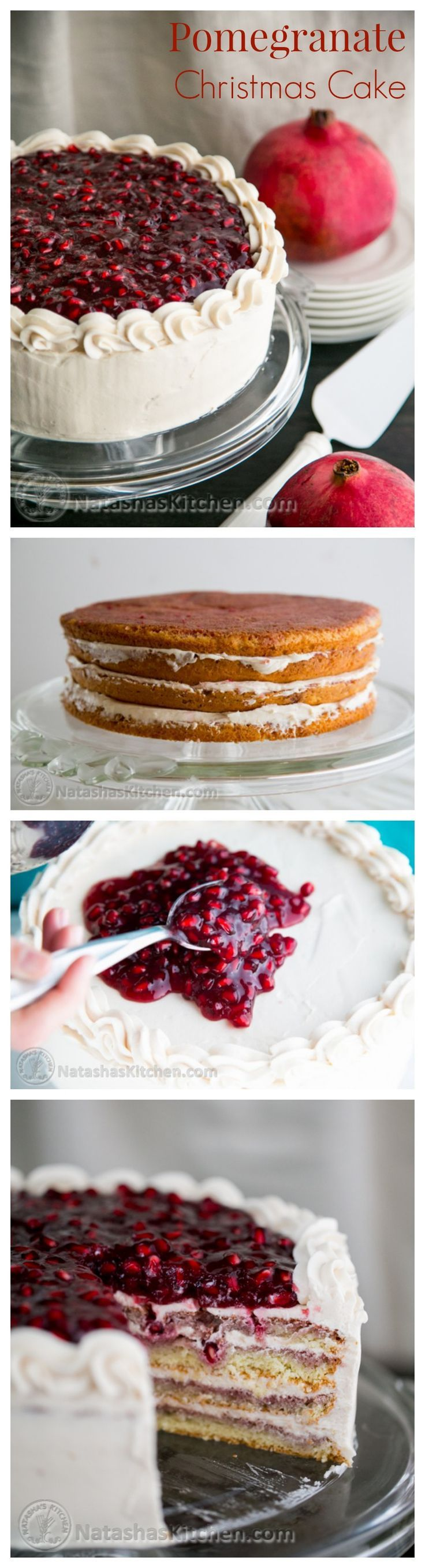 This Christmas cake is fantastic top to bottom. It's moist, beautiful, and is crowned with a pomegranate topping that will wow a crowd @natashaskitchen