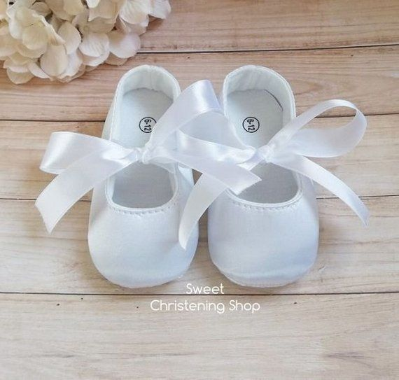 755237e2aa271 White Satin Baby Girl Christening Shoes - Baptism Shoes Baby Girl ...