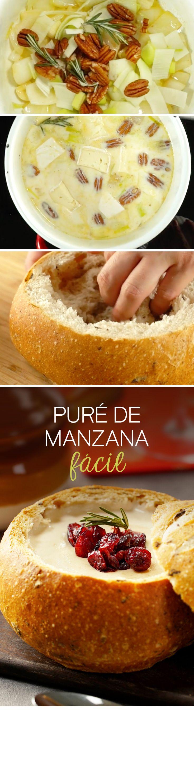 Deliciosa receta de crema de quesos con arándanos en pan campesino para épocas de frío y celebraciones como Año Nuevo o Navidad.