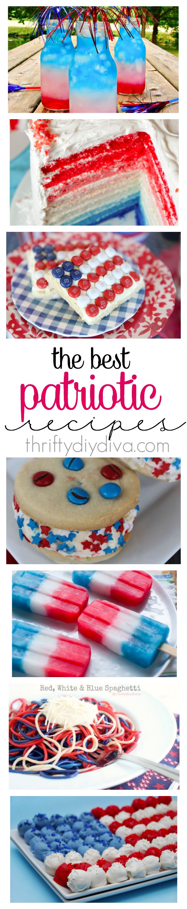 Awesome ideas of 4th of July Recipes and Red White and Blue recipes To Celebrate America's Birthday at your Party! I love these Patriotic Red, White and Blue recipes full of drinks, desserts, and even spaghetti!