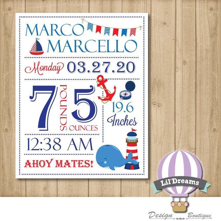A personal favorite from my Etsy shop https://www.etsy.com/ca/listing/214093496/nursery-wall-art-birth-stat-nautical