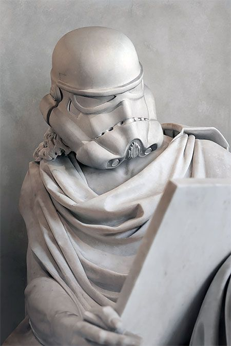 Stormtrooper Statue. Beautiful stone and marble statues of beloved heroes and villains from the Star Wars universe.   Paris based artist Travis Durden combined bodies of ancient statues with heads of Darth Vader, Yoda, and other iconic Star Wars characters.