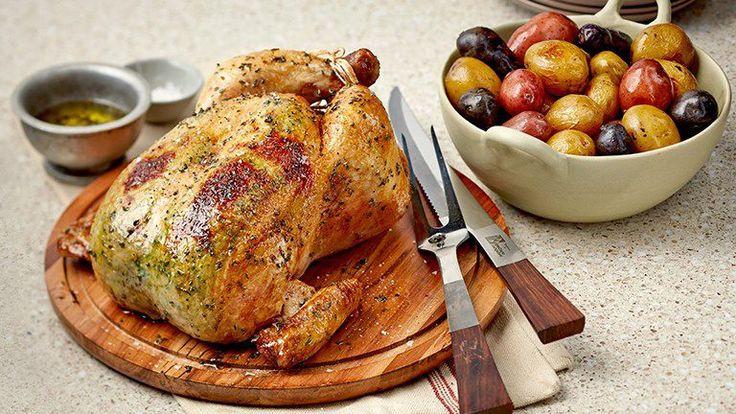 Zucchini & Parmesan-Stuffed Roast Chicken