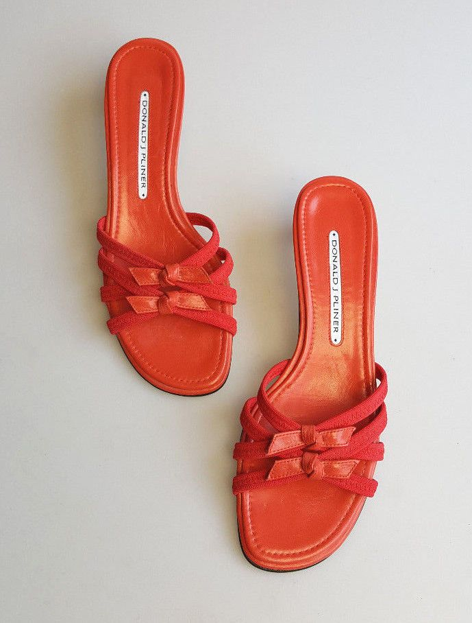 6d79b626795 Donald J. Pliner sandals red textile and leather strappy slides kitten heels  7 M  DonaldJPliner  Slides