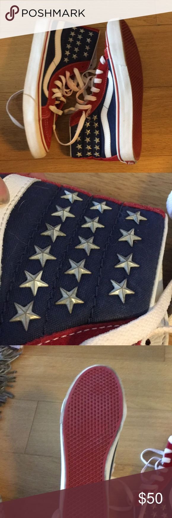 American Flag Vans. Size 6.0 women's 5.0 boys Red suede and blue canvas High top vans. Stars are actual 3D studs. Barely worn Vans Shoes Sneakers