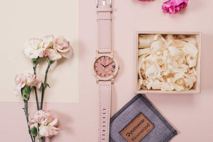 Drewniany zegarek - Seria Flake - Rose - Klon - Plantwear Polska