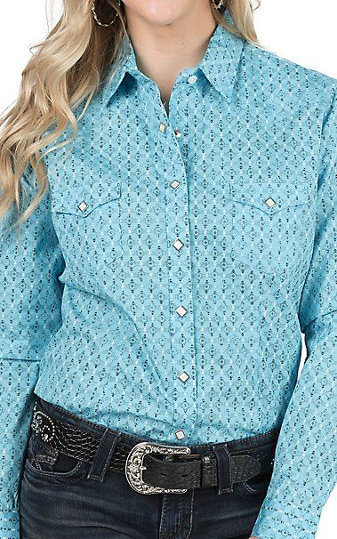 Panhandle Women's Turquoise Aztec Print Long Sleeve Western Snap Shirt | Cavender's