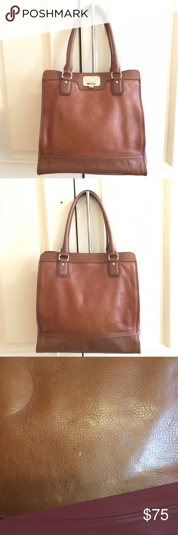 Cole Haan Vintage Valise II Kendra Tote Cole Haan Vintage Valise II Kendra Tote. Color is Tan/Cognac (Woodbury) with Orange lining and Goldtone hardware. Super cute tall Tote bag shape. Item as pictured. Final sale. Cole Haan Bags Totes