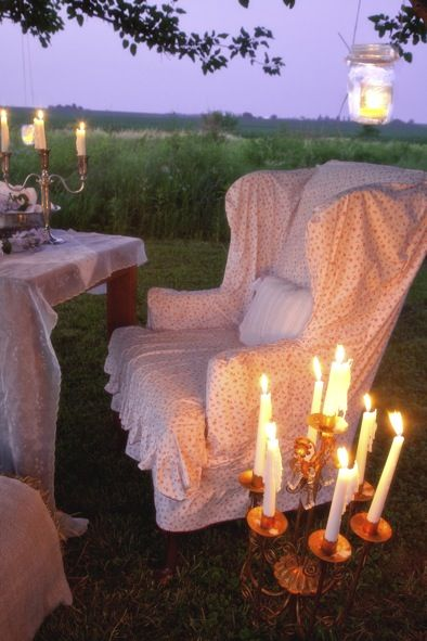long evening talks: Alfresco, Shabby Chic, Outdoor Living Spaces, To Fresh, Outdoor Sets, Green Chairs, Romantic Evening, Teas Ideas, Chairs Covers
