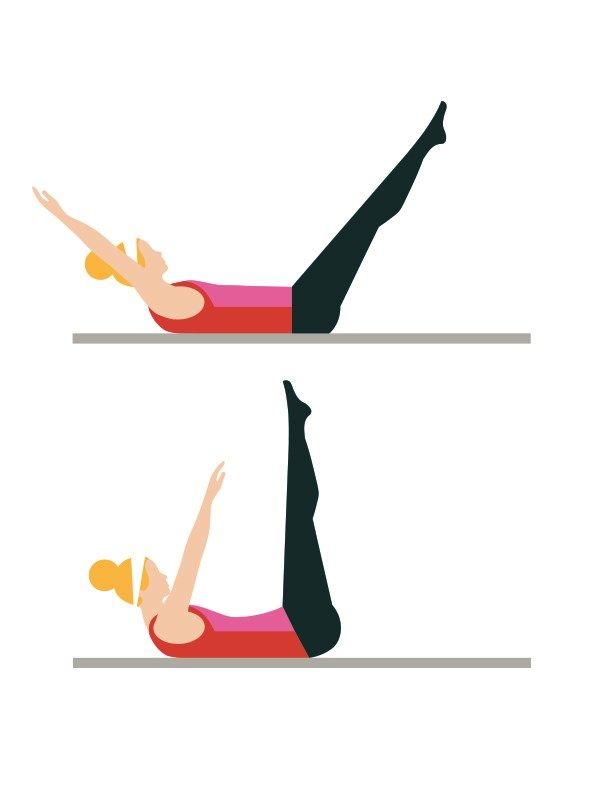 Toe touches: 3 sets of 20  Intermediate workout routine - Lie on your back, legs extended in the air, arms raised over your head. Click to read the full workout on You & Your Wedding's website. Brace your abs, and move your arms and legs as far as you can towards each other.