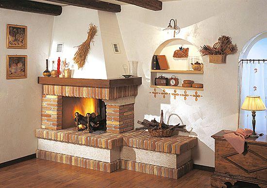 caminetto a legna rustico - arco