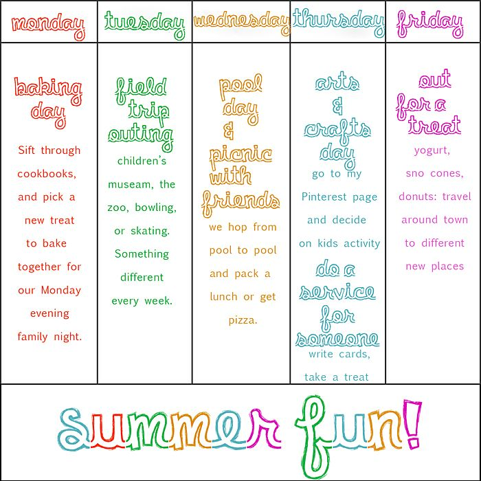 summer-weekly-activity-fun!: Kid Activities, Summer Plan, Fun Chart, Summer Activities, Summer Fun, Kids, Summertime, Summerfun, Summer Ideas