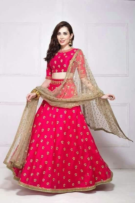 red and golden lehnga...