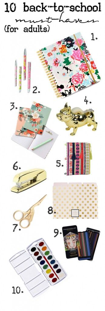 YAY! Love these cute stationary supplies and back to school suggestions for grown ups from www.runtoradiance.com! Super cute. #stationary #schoolsupplies