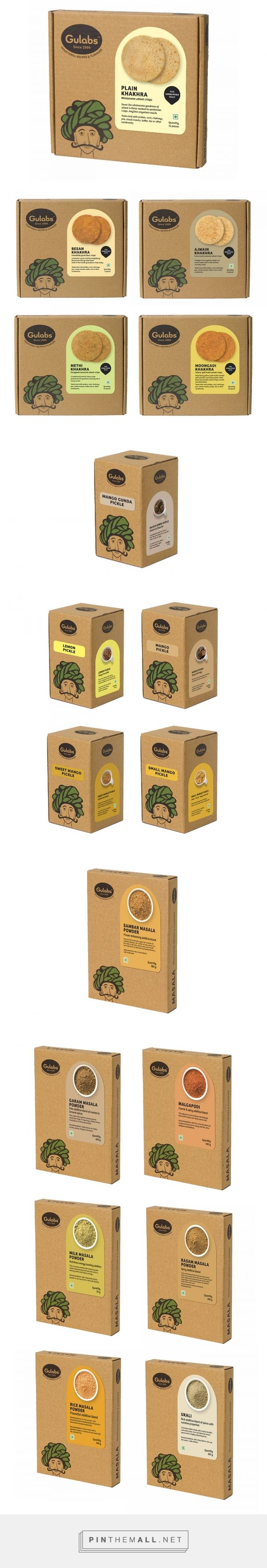 Gulabs on Behance by Impprintz Graphic Design Studio, Pune, India curated by Packaging Diva PD. Logo and packaging design system for Gulabs; a range of small scale Indian food products (snacks, condiments and spices).