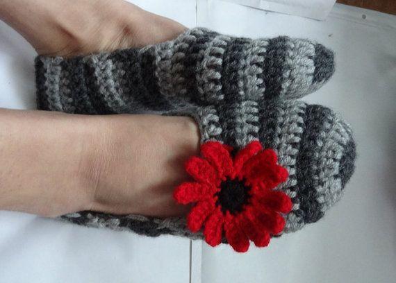 Crochet Slippers Women striped gray crochet  flower  by Ifonka, $18.00