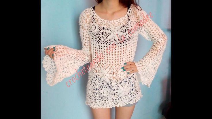 Tutorial modificacion Blusa Selena a talla L y XL Crocheteando con la comadre) - YouTube