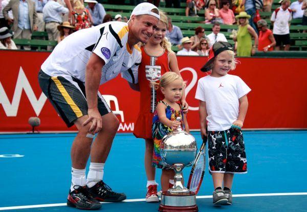 Lleyton Hewitt cu copiii, la Kooyong