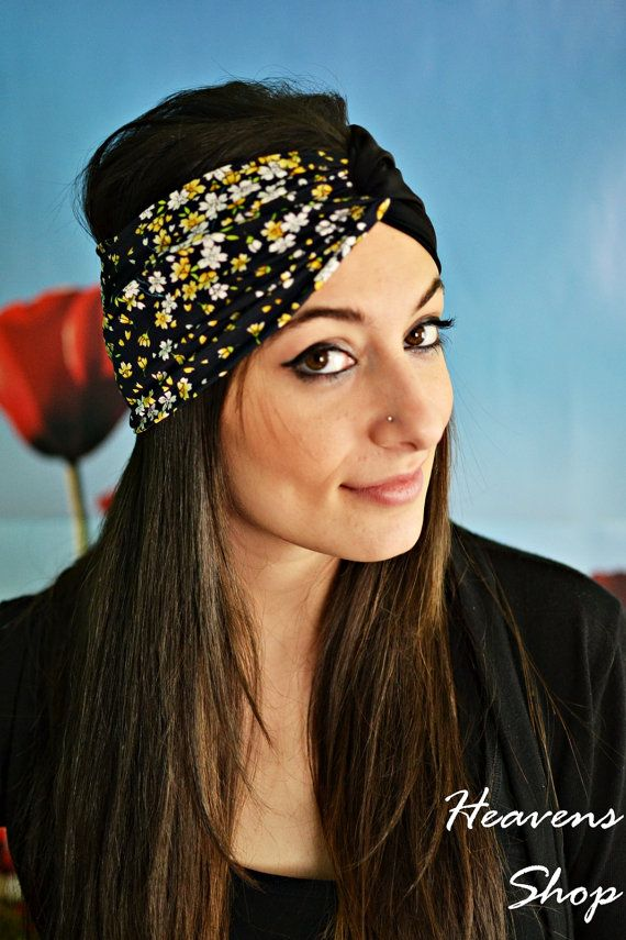 Elastic Stretchy Double Color Turban Floral Print Lace Flower Bandana Black And Colourful Shades Jersey Headband Twist Hair Band - Handmade