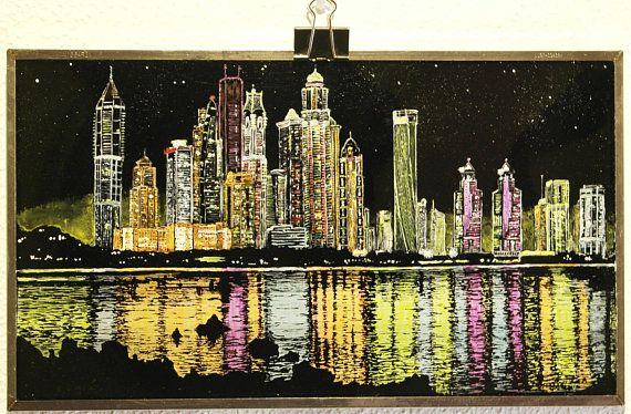 Sobre PANTALLA ROTA de PORTÁTIL  . Sky Line de Dubai  pintura