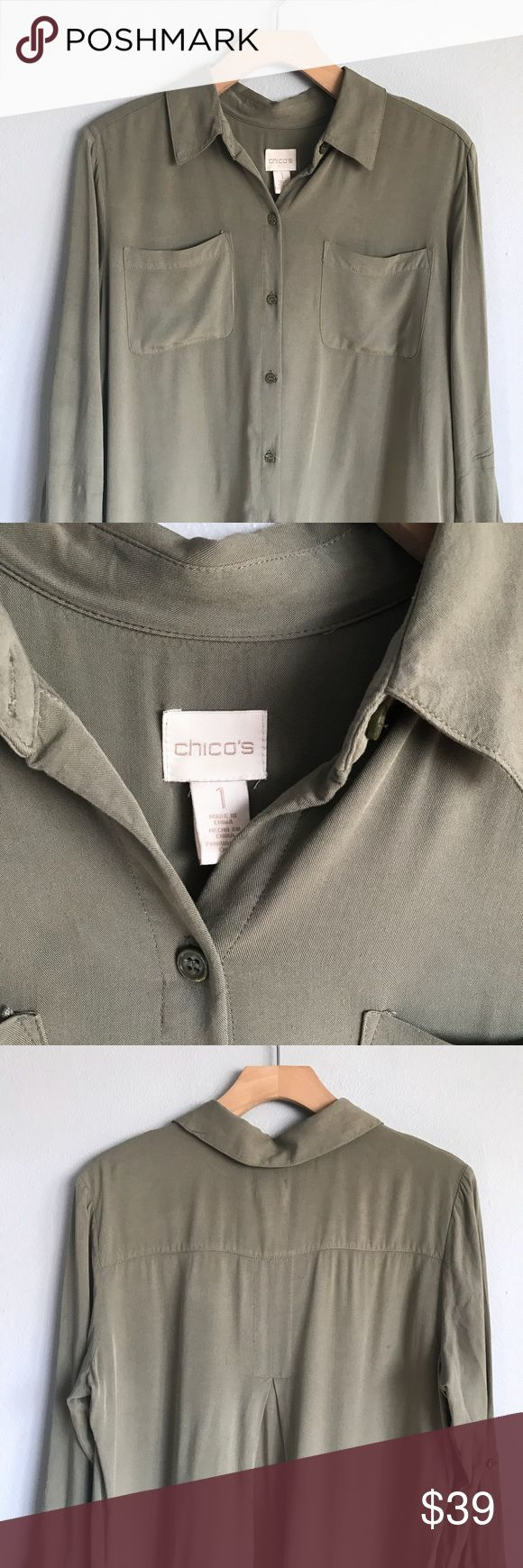 CHICOS Lightweight & Cool green long sleeve Great neutral color!❤️ Two pocket long sleeve top with roll up buttons on sleeves. Lightweight and cool. Perfect for layering!🙌🏼 Chico's size 1 = Medium or size 8 Chico's Tops Button Down Shirts