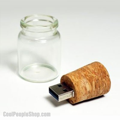 $25.95 4GB USB Flashdrive In A Bottle | Cool People Shop A message in a bottle was used as a way to communicate across the ocean. Now you can easily send messages by a click of a button.  But, what fun would that be!? Here is a new way to send personal messages combining old-tech and high-tech.