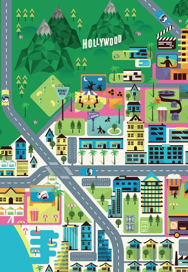 Crush | Hollywood Hills - Map Illustration