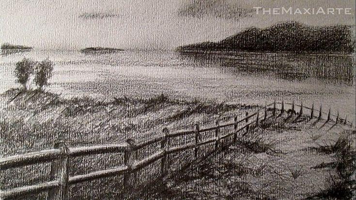 Cómo dibujar un paisaje realista a lápiz, paisaje costero a lápiz HD