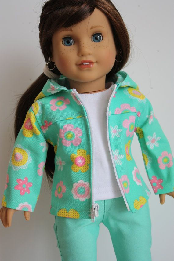 18 inch doll clothes, Spring jacket with a lined hood and zippered front for doll such as American girl, AG doll clothes
