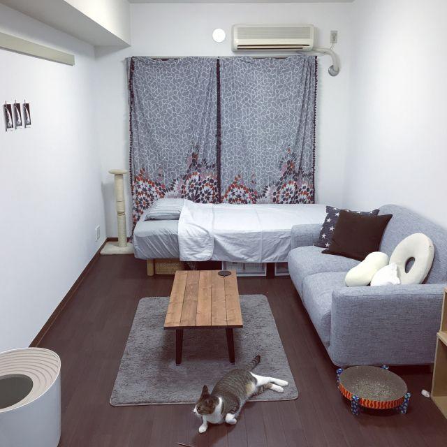 部屋全体 一人暮らし 無印良品 1k グレーコーディネートのインテリア実例 2017 08 26 22 07 21 Roomclip ルームクリップ 寝室インテリアのアイデア ベッドルームのアイデア インテリア