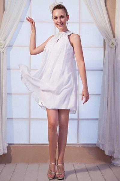Sweetheart Robe De Mousseline Blanche Soir rdc0886 - Silhouette: Une Ligne-; Tissu: Mousseline De Soie; Embellissements: Perles, Paillettes, Longueur: Longueur Au Genou - Price: 133.09 - Link: http://www.robesdeceremonies.com/sweetheart-robe-de-mousseline